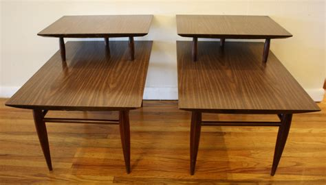 2 tier end table mid century modern 2 tiered end tables picked vintage