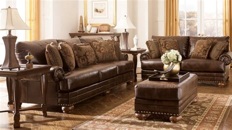 Traditional Living Room With Ashley Furniture Dark Brown Traditional Sectional Sofas Living Room Furniture