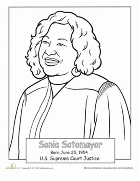Sonia Sotomayor Coloring Page Education Com Hispanic Heritage Month Coloring Pages