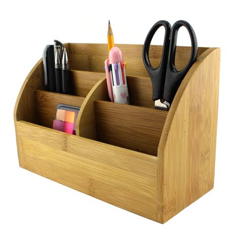 Homex Bamboo Desk Organizer With Pencil Holder Homex Pencil Desk Organizer