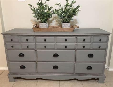 farmhouse grey wood nine drawer credenza media stand or