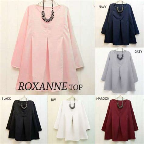 gambar atasan brokat muslim baju atasan roxanne blouse busana remaja modern