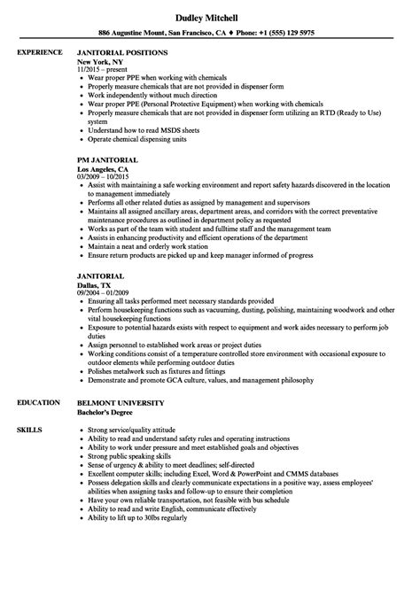 Janitorial Resume by Janitorial Resume Sles Velvet