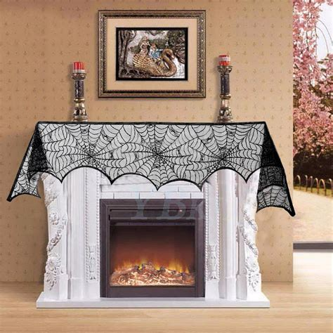 fireplace mantle scarf 1pc black lace spiderweb fireplace mantle scarf cover