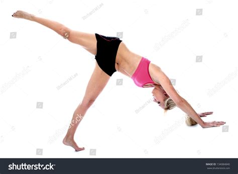 downward position downward pilates position stock photo 134084840