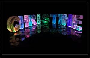 the name christine in 3d coloured lights