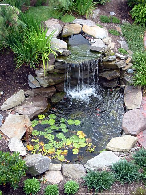 backyard small pond tiny pond like pool with natural like waterfall and small