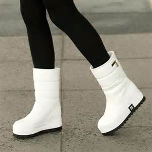 Buy white snow boots winter solid color brief women s platform shoes