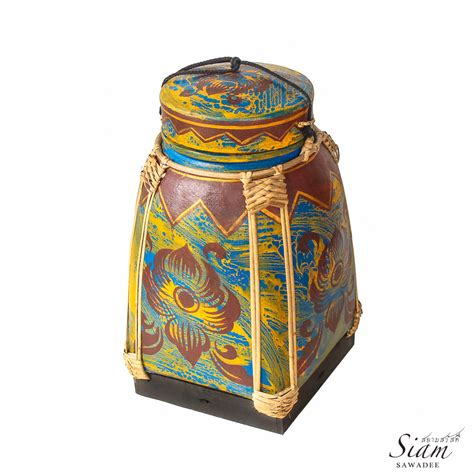 Handmade Rice Box - thai lotus painted rice box siam sawadee