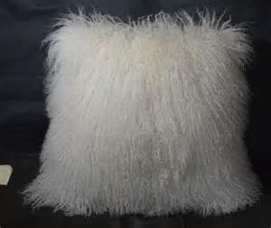 White Mongolian Cushion Mongolian Fur Pillow White 22 X 22 Fur Made