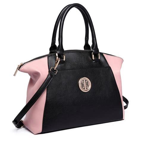 lh1671 miss lulu contrast winged shoulder tote bag pink