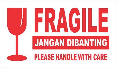 Warning 9 11 Ukuran 3 X 300m jual sticker fragile pecah belah jangan dibanting