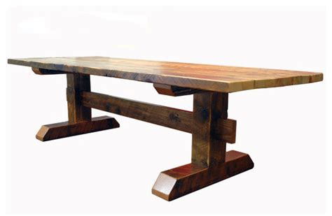 farmhouse trestle table plans reclaimed timber trestle table rustic dining tables