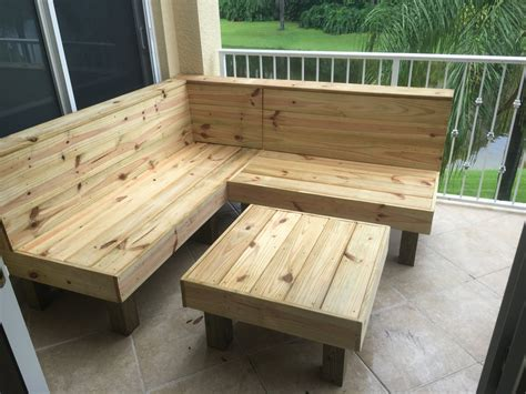 The Sectional Rustic wood patio benches and table or