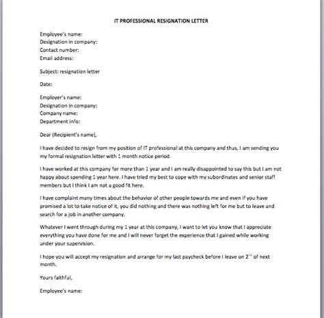 Resignation Letter It Professional by Software Developer Resignation Letter Smart Letters
