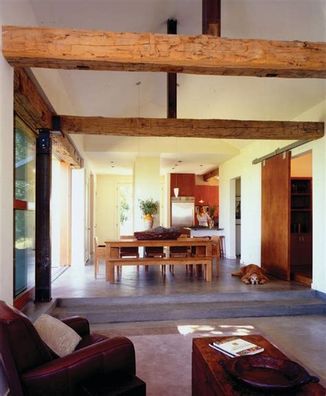 Farmhouse Livingroom by Living Rooms With Beams That Will Inspire