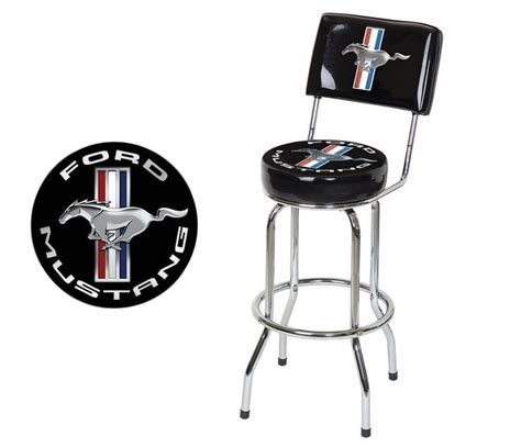 ford bar stool with backrest details about ford mustang chrome black tribar running