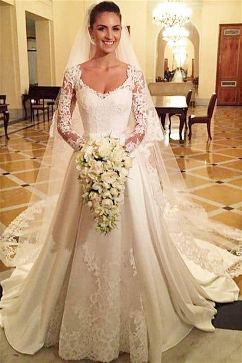 Princess A Line Satin Wedding Dress White Lace V Neck Long