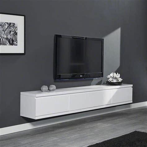 meuble tv suspendu laqu 233 blanc design achat vente