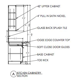 technical drawing autocad kitchen cabinetry section