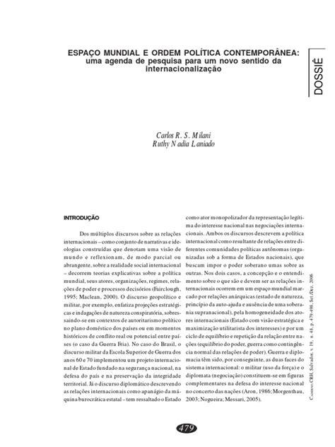 ESPAÇO MUNDIAL E ORDEM POLÍTICA CONTEMPORÂNEA: uma agenda