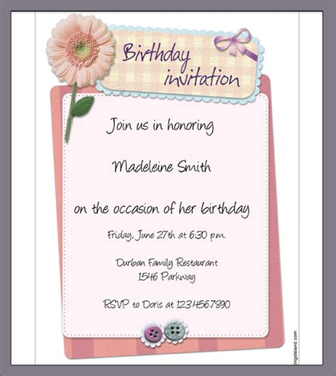 Invitation Letter Exle For Birthday Sle Birthday Invitation Template 40 Documents In Pdf Psd Vector