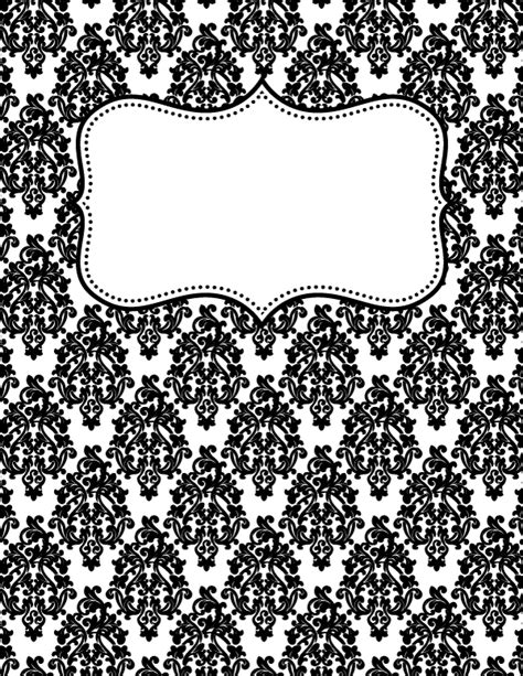 free printable binder covers black and white free printable black and white damask binder cover