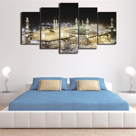 islamic home decor 5 pieces canvas wall hd print framed islamic muslim
