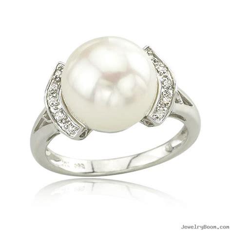 14k white gold freshwater pearl ring pearl rings