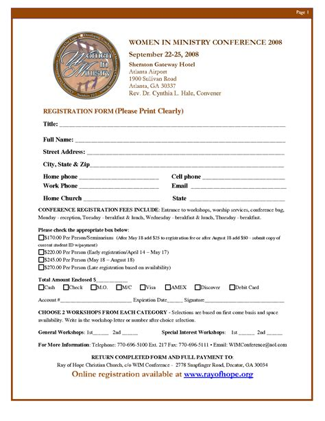 Women S Conference Bing Images Church Registration Form Template