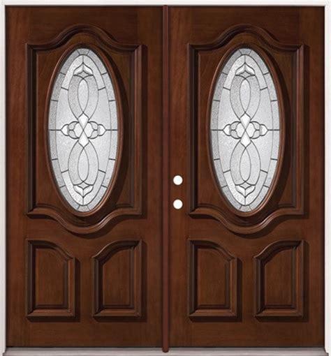 Exterior Wood Doors Cheap Door 74 In X 81 625 In Lakewood Zinc 3 4 Oval Lite Stained Walnut