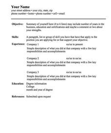 Sample Of Basic Resume   Experience Resumes