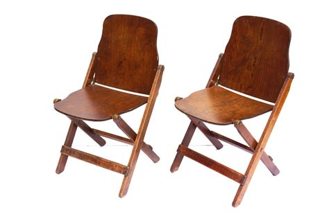 Vintage antique wood folding chairs with brass hardware set