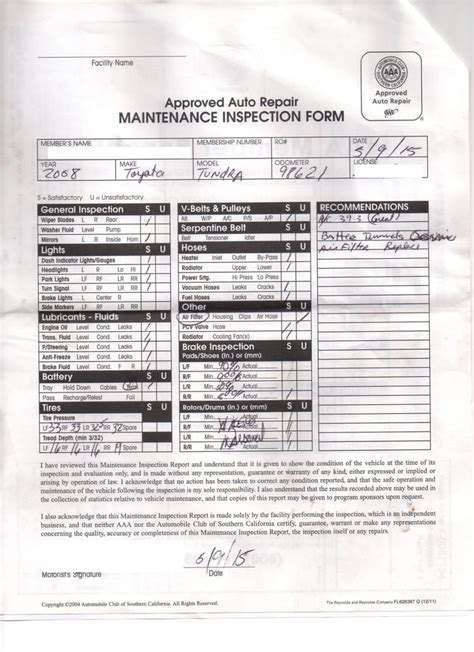 ca brake and light inspection checklist pre purchase inspection form used from aaa yelp