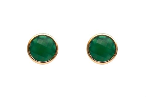 Guess Charlote Silver bonde studs green chalcedony gold