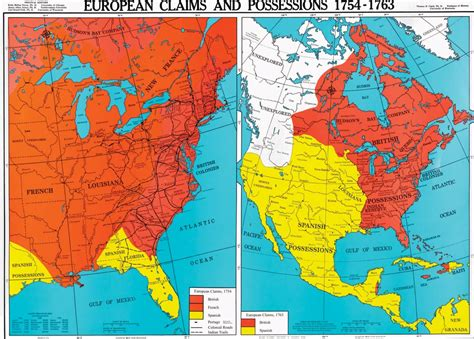 america map in 1754 european claims and possessions 1754 1763 u s history map