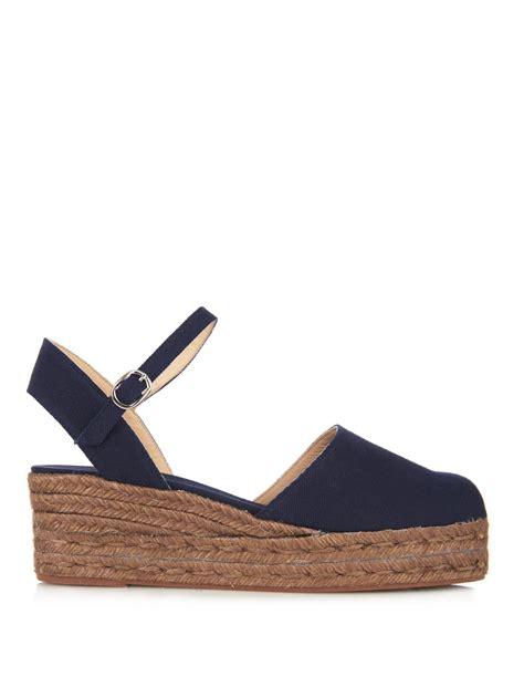 castaner clara canvas espadrille wedge sandals in blue lyst