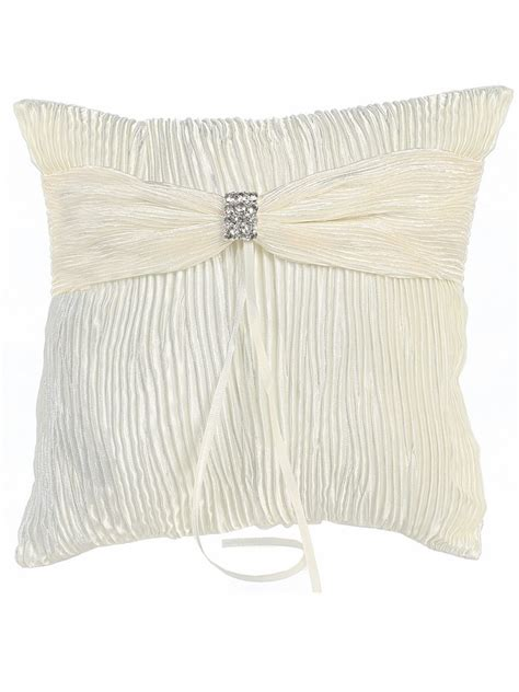 ivory satin lace embroidered ring bearer pillow