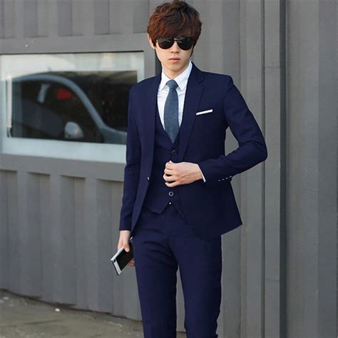 Korean Vest Dress One Set three dress suits brazer vest wedding suit for