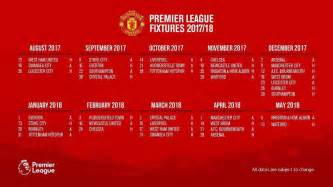 Calendar 2018 Utd All Manchester United S 2017 2018 Premier League Fixtures