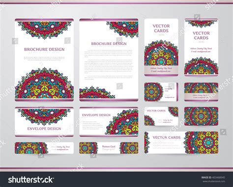 medicare card themed brochure templates business cards mandala vector template tribal stock vector