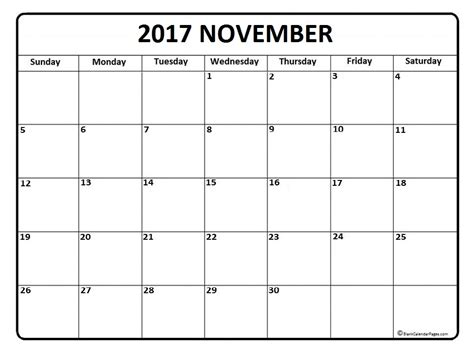 printable monthly calendar november november calendar 2017 printable and free blank calendar