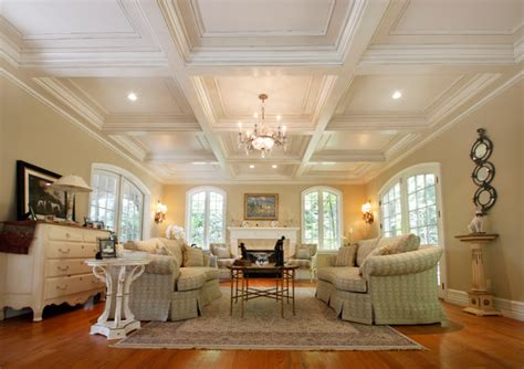 Celing Window Coffered Ceilings Traditional Living Room New York