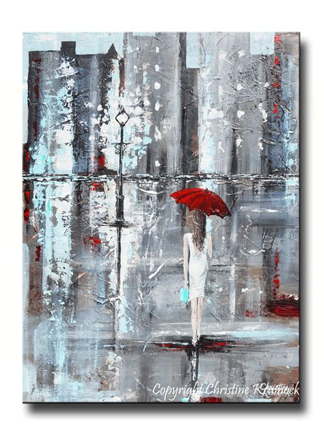 original art wall decor home decor modern art european art sold original art abstract painting red umbrella girl rain