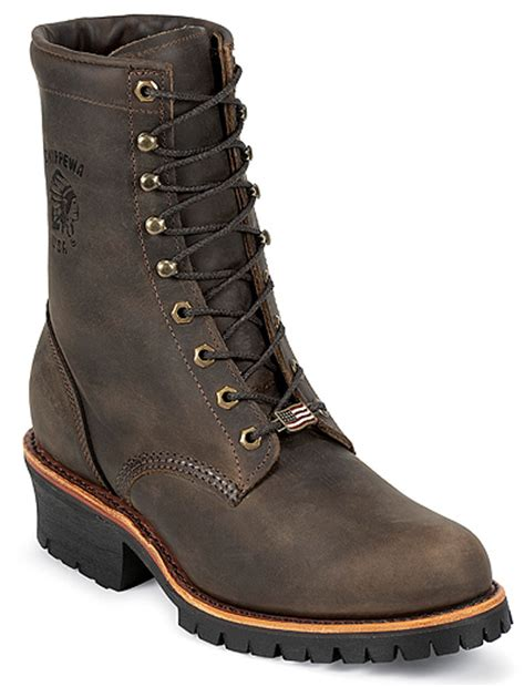 chippewa bootsmotorcycle boots snakeboots logger boots chippewa men s 8 quot chocolate apache lace up logger boot 20090
