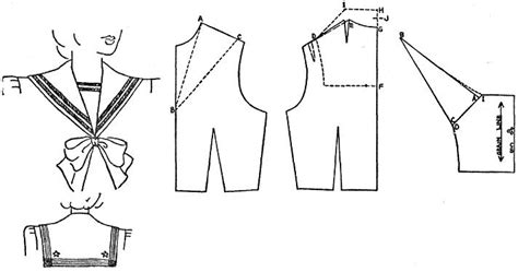pattern drafting for dolls tuppence ha penny sailor style drafting a sailor collar