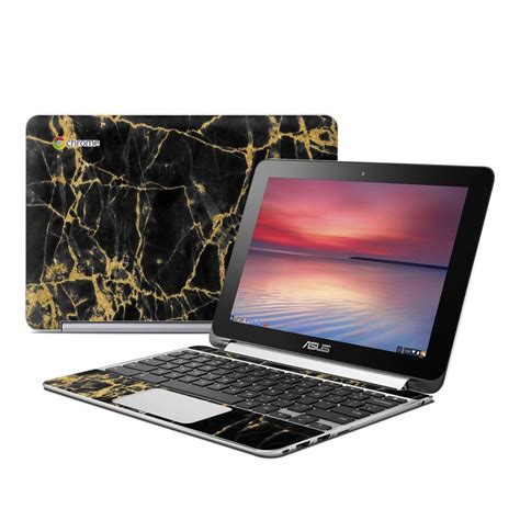 Asus Laptop Black And Gold asus flip chromebook skin black gold marble by marble collection decalgirl