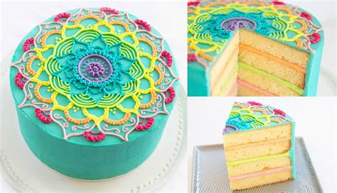 Zentangle Design by Rainbow Mandala Buttercream Cake Decorating Tutorial