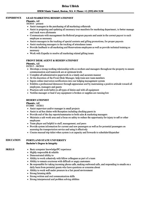 Reservationist Resume by Reservationist Resume Sles Velvet