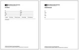 Fax Memo Template by Fax Memorandum Form Print Media Guidelines Csu